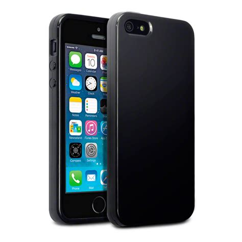 Slim Rubber Iphone 5 5s Se slim rubber solid black tpu gel jelly cover for apple