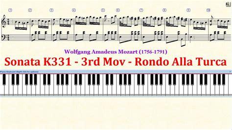 tutorial piano mozart piano tutorial sheet mozart sonata k331 3rd mov