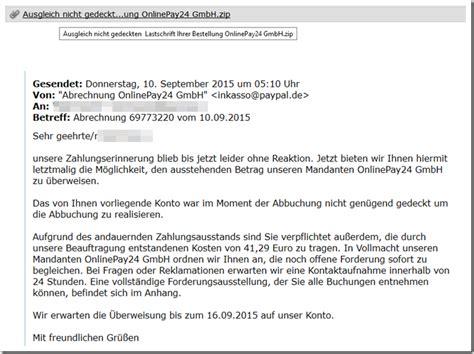 warnung vor der  mail abrechnung onlinepay gmbh