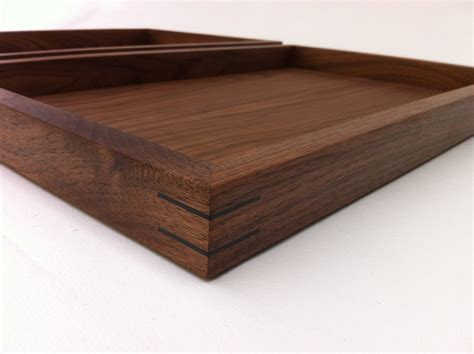 large decorative tray for ottoman modern walnut display box ottoman tray w splines and felt
