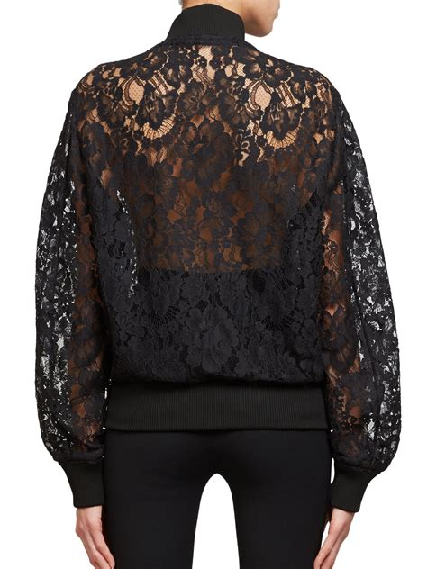 Lace Bomber Jacket givenchy lace bomber jacket in black lyst
