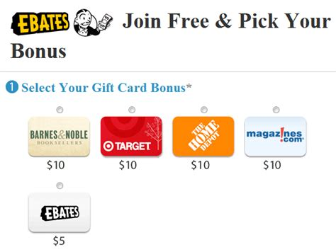 Gift Card Sign Up - ebates free 10 gift card sign up bonus couponing 101