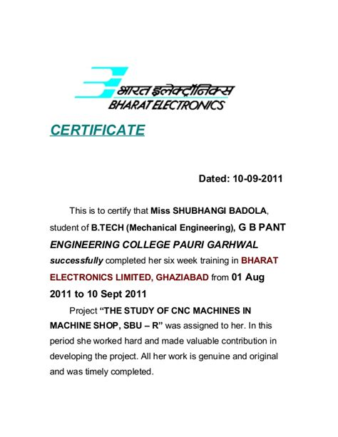 Experience Letter Qc Engineer Project Report Mechanical Bel Ghaziabad