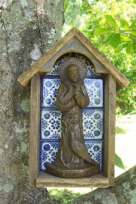 Handcrafted By St - handmade cedar and tile niche with statue of