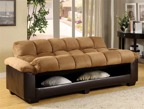 Brantford Camel Espresso Elephant Microfiber Plush Futon Plush Furniture Sofa Beds