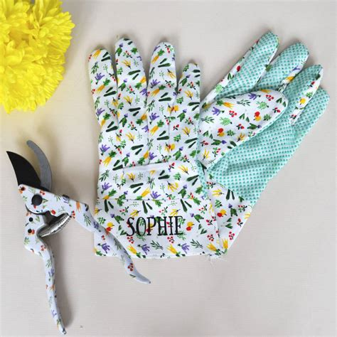 personalised gardening gloves and secateur gift set by