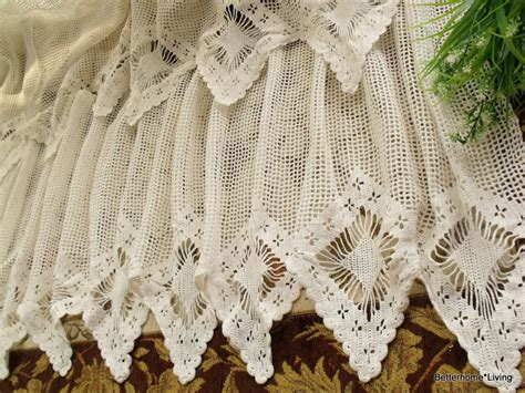 white crochet curtains french 20x200 quot wide vintage hand crochet lace valance