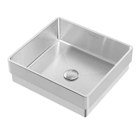 Stainless Bathroom Sinks by Whitehaus Collection Noah Plus 15 3 4 In Semi Recessed