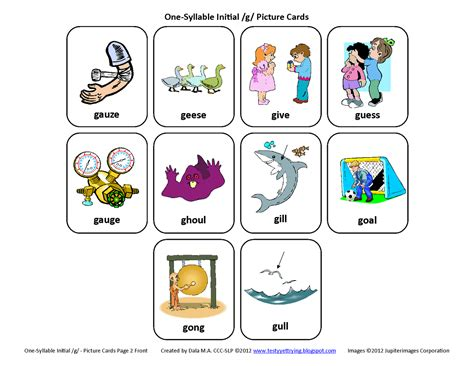 printable articulation cards testy yet trying initial g free speech therapy