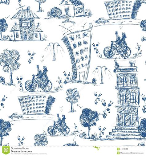 doodle city doodle city seamless pattern stock vector image 44813433
