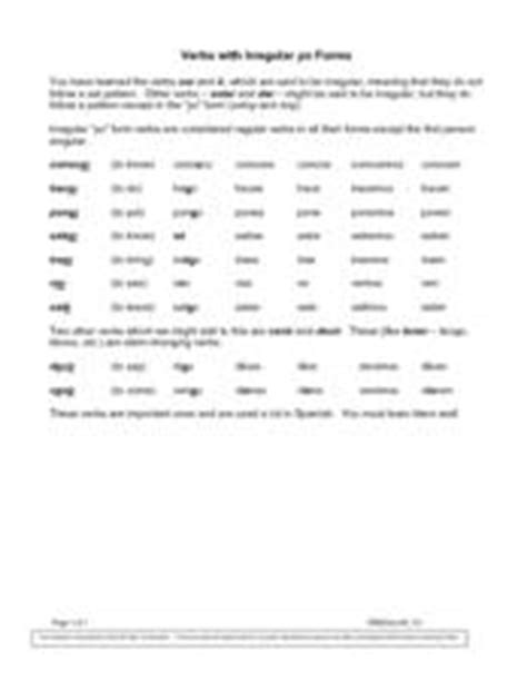 Verbs With Irregular Yo Forms Worksheet by Verbs With Irregular Yo Forms 6th 8th Grade Worksheet