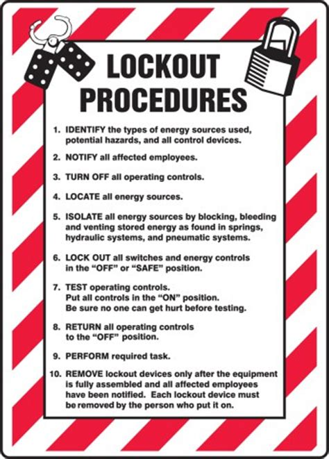 loto program template lockout procedures list lockout tagout sign mlkt505