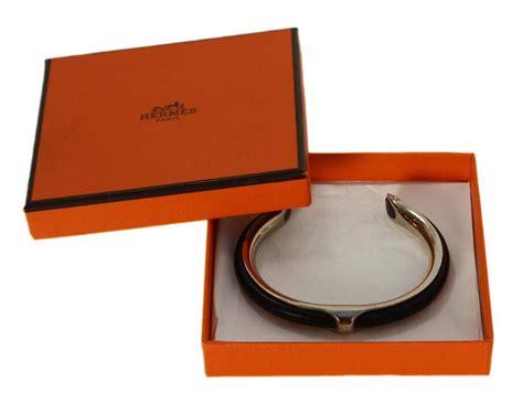 Hermes Hm049 Black Silver 1 hermes black leather and silver kyoto cuff bracelet at 1stdibs