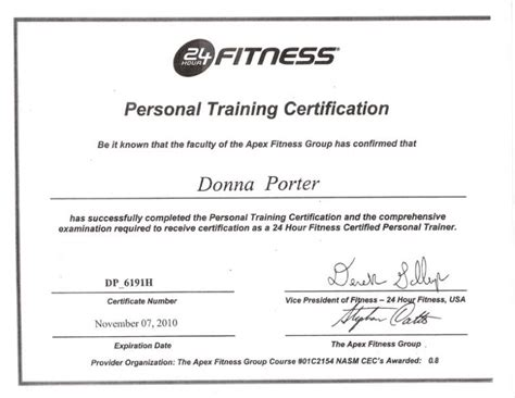 24 Hour Fitness Personal Trainer Certification Dexgala Personal Certificate Template