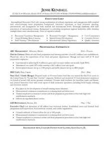 Resume Sle For Chef by Executive Sous Chef Resume Ilivearticles Info