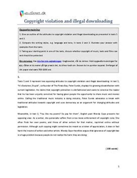 Illegal Downloading Essay by Eksempel P 229 Paper Om Quot Copyright And Illegal Downloading Quot Studienet Dk