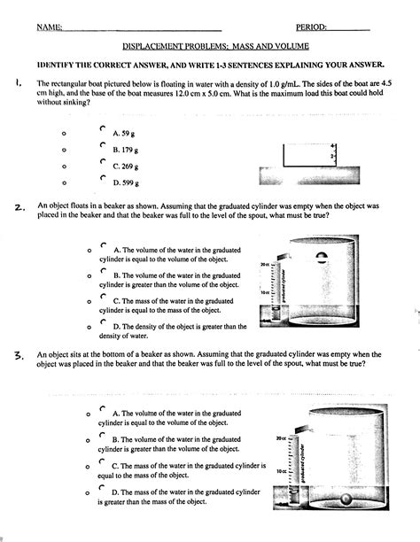 Volume And Density Worksheet by Volume By Water Displacement Worksheet Photos Getadating