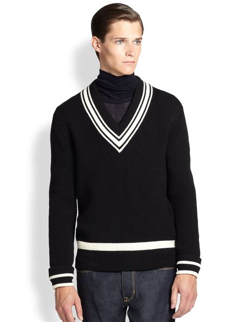 Sweater We Black kent and curwen vneck cricket sweater in black for black white lyst