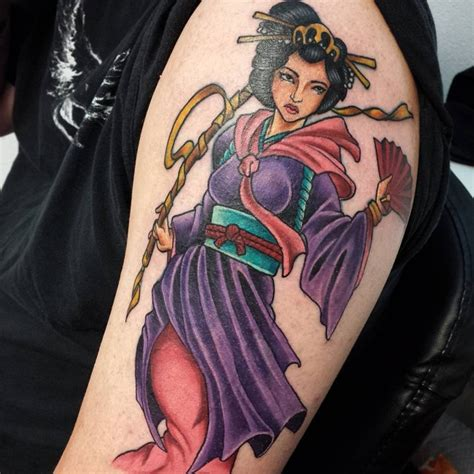 geisha tattoo full color 70 colorful japanese geisha tattoos meanings and