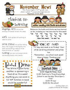 template thanksgiving newsletter template