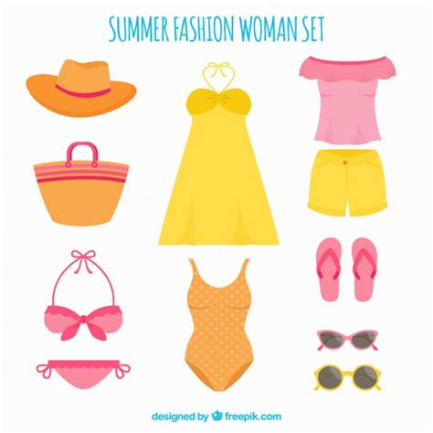 summer clothes set of summer clothes for vector free