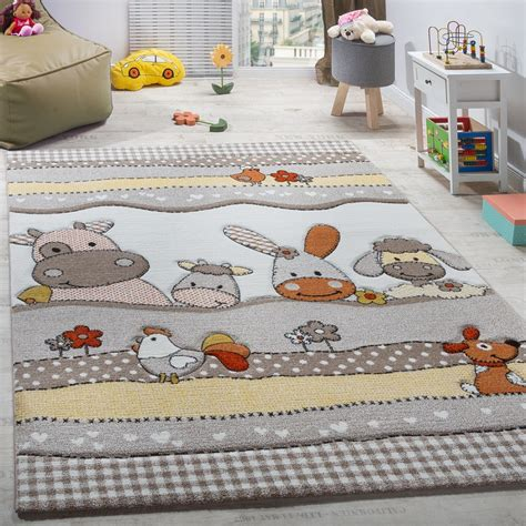 Kid Rug Children S Farm Animals Contour Cut Rug Beige And Grey Children S Rugs