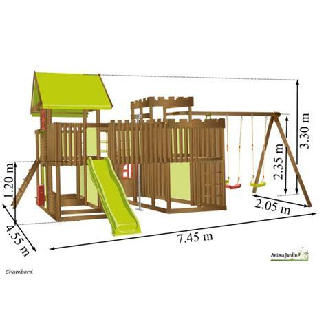 portique balancoire toboggan aire de jeux portique bois chambord balan 231 oire toboggan