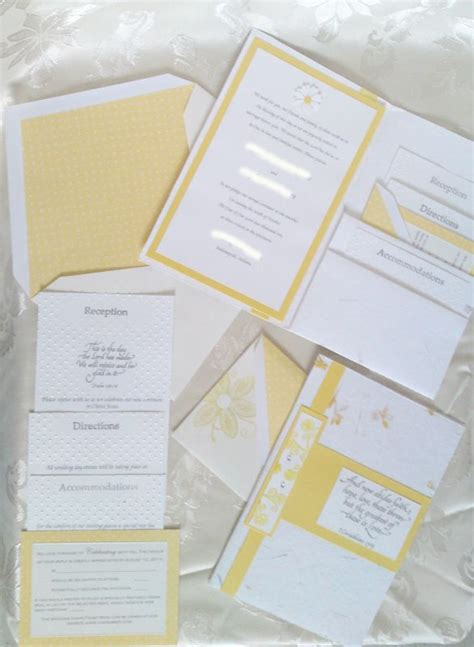 Handmade Paper Invitations - yellow invites handmade paper cuttlebug weddingbee photo