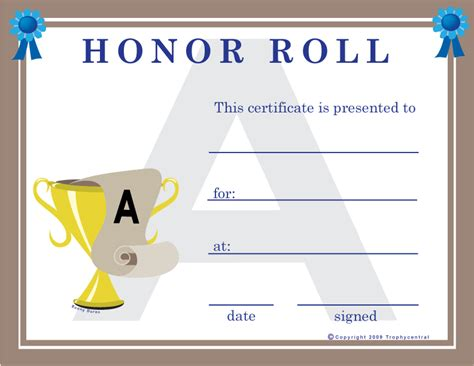 free honor roll certificates certificate free honor roll