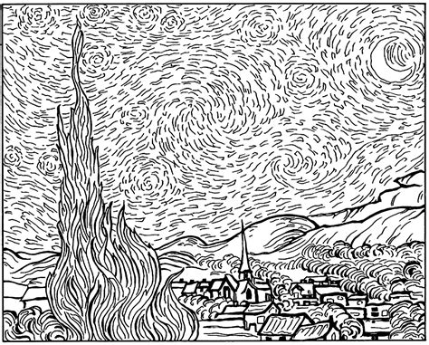 art coloring pages van gogh van gogh starry night masterpieces coloring pages for