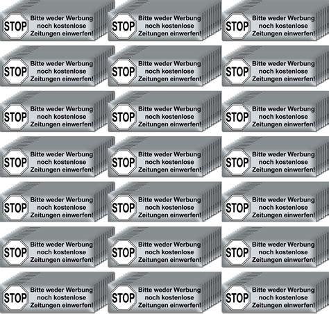 Aufkleber Kaufen Keine Werbung by 200 Aufkleber Briefkasten Stop Bitte Keine Werbung Reklame