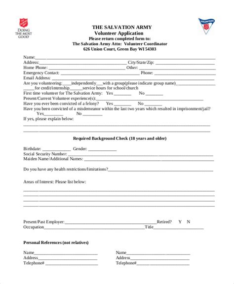 Salvation Army Community Service Letter service hour form homeschool hour log the family