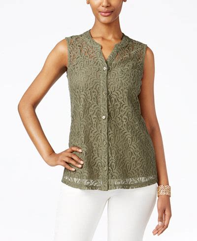 Macy S White Button Blouse by Style Co Lace Button Front Blouse Only At Macy