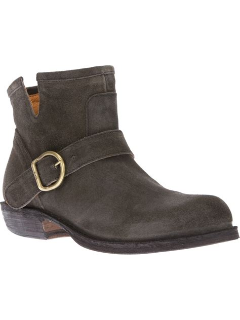 fiorentini baker chad suede ankle biker boot in gray