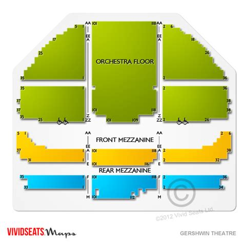 gershwin theater seating gershwin theatre tickets gershwin theatre information