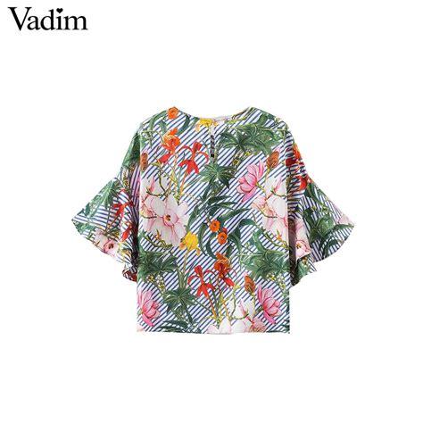 Womens Sweet White O Neck Print Blouse Murah vadim sweet ruffles floral shirts sleeve o neck blouse european style flower