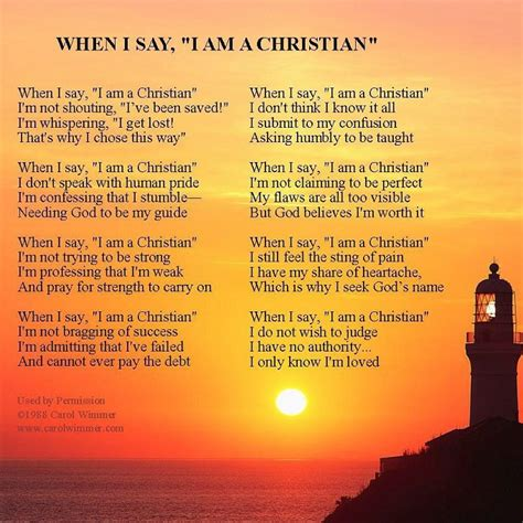 when i say i am a christian by carol wimmer