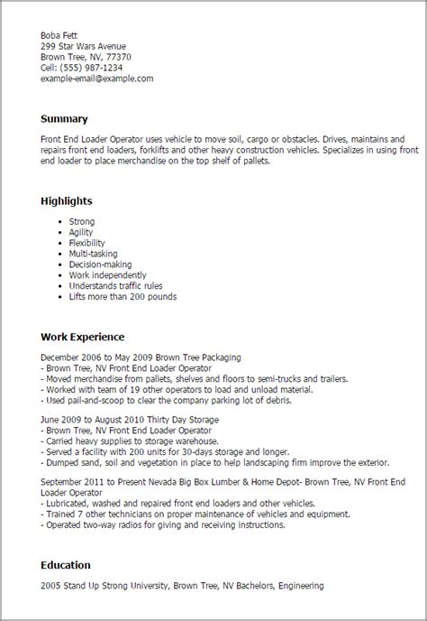 Tree Worker Cover Letter by Front End Loader Operator Resume Template Best Design Tips Myperfectresume