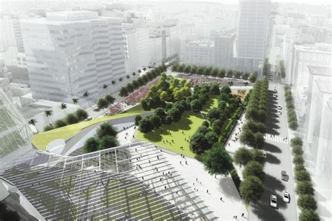 los angeles landscape architects four competing designs unveiled for pershing square in