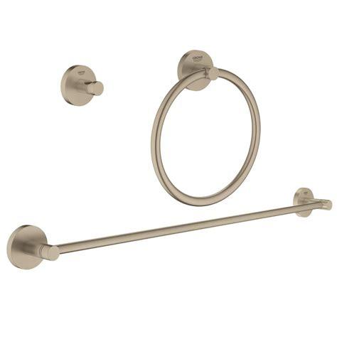 3 piece bathroom accessory set grohe essentials accessories 3 piece bath accessory set in brushed nickel infinity