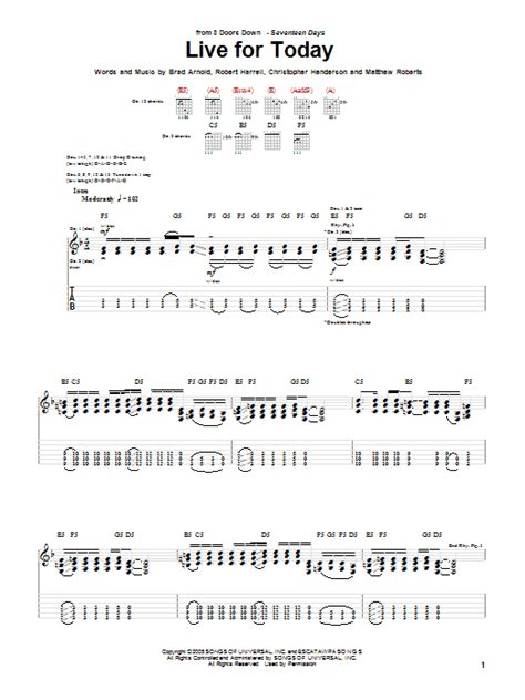3 doors live for today live for today by 3 doors guitar tab guitar