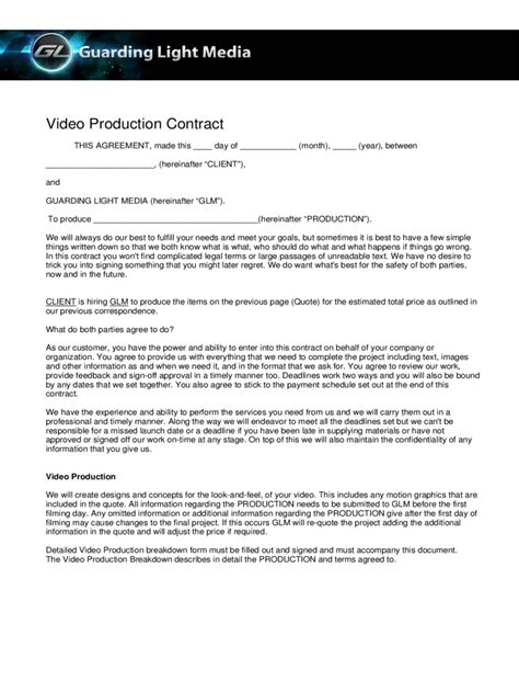 Resume Sample Template Word by Video Production Contract 6 Free Templates In Pdf Word