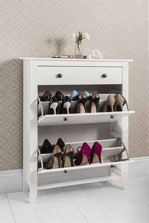 Shoe Storage Cabinet Shoe Storage Cabinet Deluxe With Storage Drawer Cotswold In White Ebay