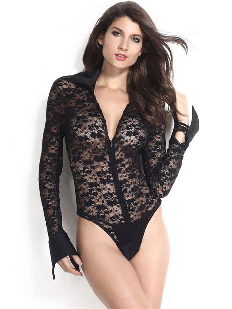 Sleeve Sheer Bodysuit buy costumes black sheer lace sleeves