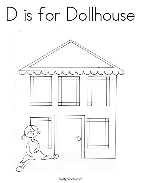 coloring pages of a doll house d is for dollhouse coloring page twisty noodle