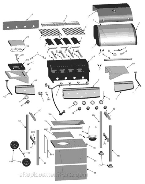 gas grill parts diagram char broil 463210310 parts list and diagram