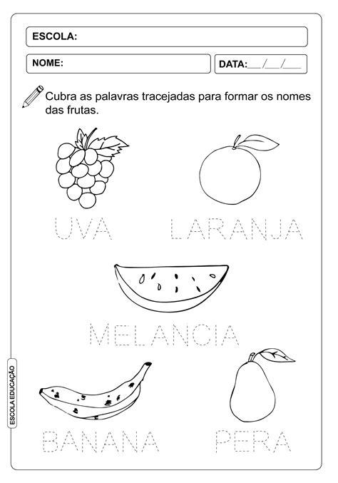 Atividade Pontilhada - Nome das Frutas - Escola Educação