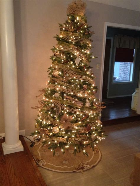 burlap christmas tree holidays pinterest