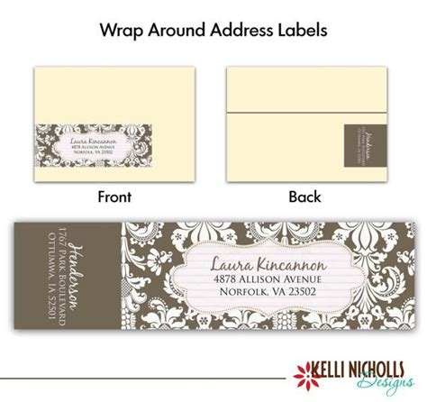 wedding address labels template damask wedding wrap around address label template choose