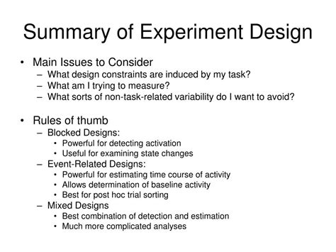 design of experiment notes ppt issues in experimental design powerpoint